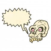 retro cartoon shrieking skull symbol