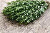 stock photo of flavor  - Bunch of green fresh rosemary herbs on rustic wooden table background - JPG