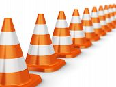 Row of orange traffic cones