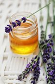 herbal honey in jar with fresh flower - sweet food /shallow DOF/