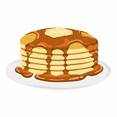 pic of maple syrup  - Isolated vector delicious pancake with maple syrup in a plate - JPG