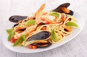 stock photo of spaghetti  - spaghetti with seafood - JPG
