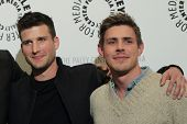 LOS ANGELES - JAN 7:  Parker Young, Chad Lowell at the FOX's 'Enlisted' Premiere at The Paley Center
