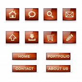 Set of glossy wooden web icons and menu buttons