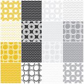 seamless patterns with dots, circles and waves