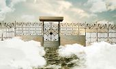 image of heavens gate  - illustration of the heaven gate over white clouds - JPG