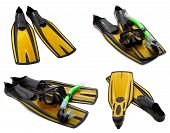 Set Of Yellow Flippers, Mask, Snorkel For Diving With Water Drops
