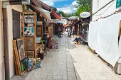 SARAJEVO, BOSNIA AND HERZEGOVINA - AUGUST 11, 2012: Market area of Bascarsija,  old market-place, hi
