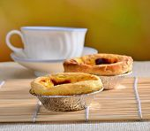 delicious egg tart on dining table