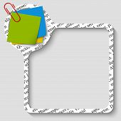 Vector Box For Any Text With Paper Of Notes And Paper Clip