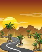 stock photo of long winding road  - Illustration of a desert with a long and winding road - JPG