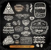 Old style Coffee frames and labels | Retro floral ornaments | Vintage ribbons, borders and other elements collection for Coffee design | eps10 vector set. Chalkboard illustration variant.
