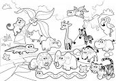 Savannah animal family with background in black and white. Cartoon vector illustration.