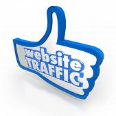 Website Traffic Thumb Up Increased Online Views Reputation