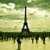 the Eiffel Tower seen from the Jardins du Trocadero in Paris, France, with a retro effect