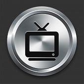 Television Icon on Metallic Button Collection