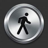 Walking Icon on Metallic Button Collection