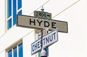 San francisco Hyde Street sign junction with Chesnut, California, USA