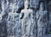picture of rock carving  - Carving in buddhist temple Buduruvagala - JPG
