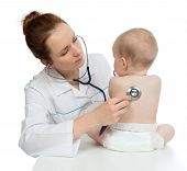 Nurse Auscultating Child Baby Patient Spine With Stethoscope