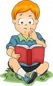 Illustration of a Little Boy Thinking About Something While Reading a Book