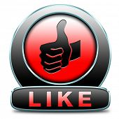 stock photo of follow-up  - like and follow us thumbs up icon or button - JPG
