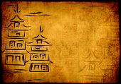 Grunge eastern background with ancient Japanese houses