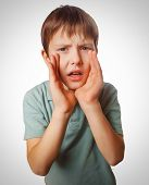 boy calling kids cries shouts teenager opened his mouth isolated