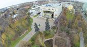MOSCOW, RUSSIA - OCT 22, 2013: (view from unmanned quadrocopter) Russian State Social University in
