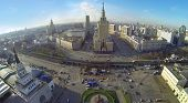 MOSCOW, RUSSIA - NOV 09, 2013: (view from unmanned quadrocopter) Leningradskaya hotel. Hotel buildin