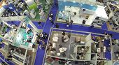 MOSCOW, RUSSIA - NOV 14, 2013: (view from unmanned quadrocopter) People at 15th International Exhibi