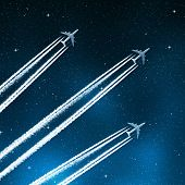 aircraft in the night sky