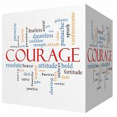 Courage 3D Cube Word Cloud Concept