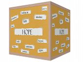 Hope 3D Cube Corkboard Word Concept