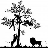 Editable vector silhouette of three men chased into a tree by a pair of lions with all figures as separate objects