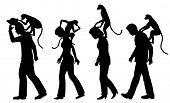 Editable vector silhouettes of monkeys on people's backs with all figures as separate objects