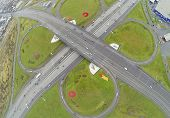 Traffic at Schelkovskaya interchange MKAD in Moscow, Russia. View from unmanned quadrocopter