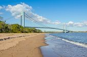 Staten Island beach and Verrazano-Narrows Bridge, NYC