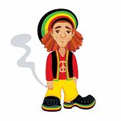 picture of rastaman  - cute cartoon rastafarian character holding marijuana cigarette - JPG