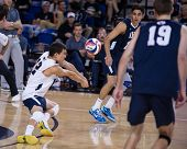 IRVINE, CA - JANUARY 17: Brigham Young University's Jalen Reyes gets the dig in a volleyball match w