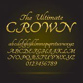 Luxury Golden Font And Numbers, Eps 10 Vector, Editable For Any Background