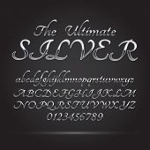 Silver Platinum Font And Numbers, Eps 10 Vector, Editable For Any Background