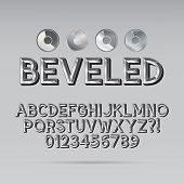 Steel Beveled Outline Font And Digit, Eps 10 Vector, Editable For Any Background