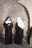 Two young nuns passing each other in a medieval convent (this is a composite, only 1 model release needed)