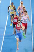 GOTHENBURG, SWEDEN - MARCH 3 Yury Trambovetsky (Russia) and his team place 2nd in the men's 4x400m f