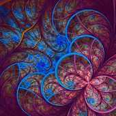 Beautiful Fractal Flower In Blue And Vinous. Computer Generated