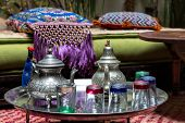 Traditional Moroccan tea service on a small table