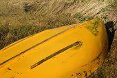 Upturned yellow row boat