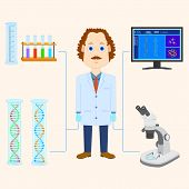 picture of physicist  - vector illustration of scientist scientific laboratory equipment - JPG
