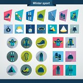 Winter sport and hiking flat icon collection.